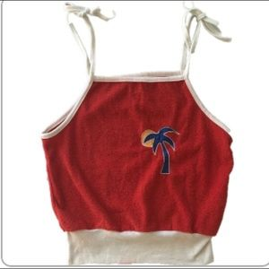 Vintage Red Terry Cloth Palm Tree Tie Strap Top